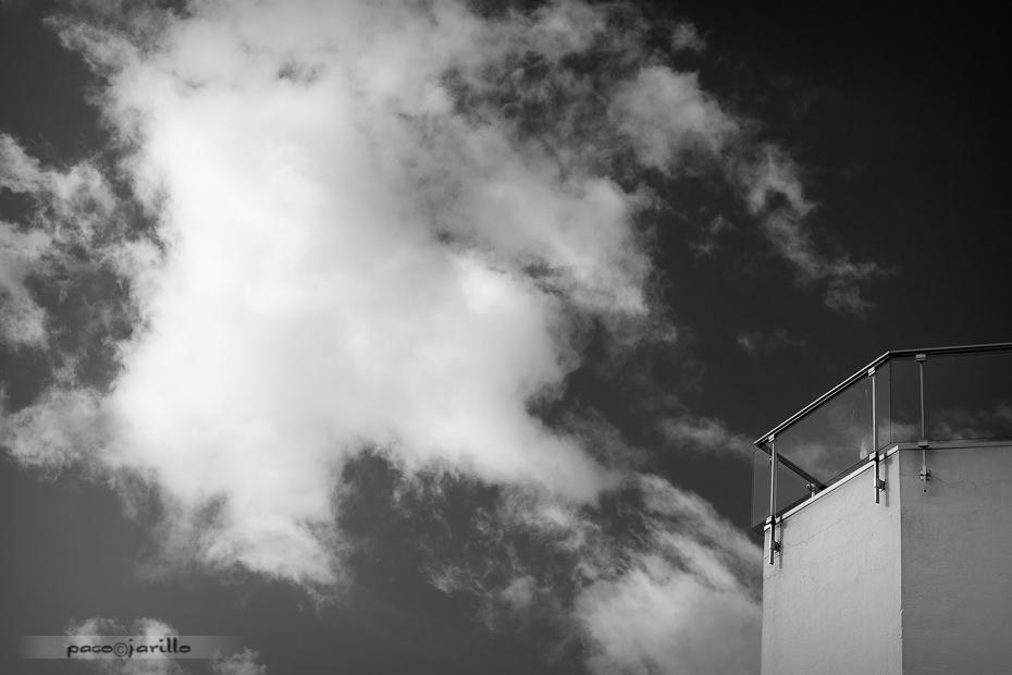 balcon, cielo, edificio, fachada, nube